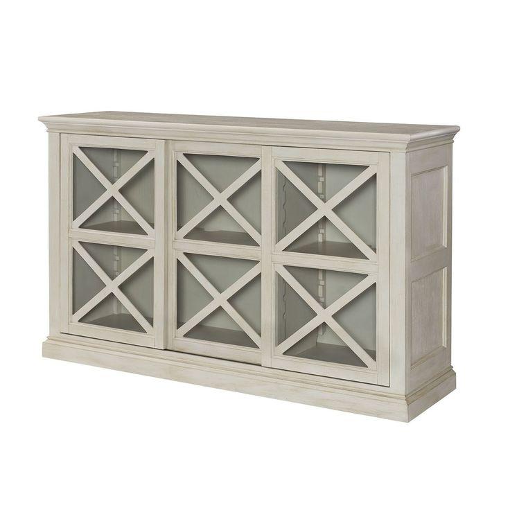 Hammary 090 741 Hidden Treasures Sliding Door Storage Console In Dove Gray  Painted