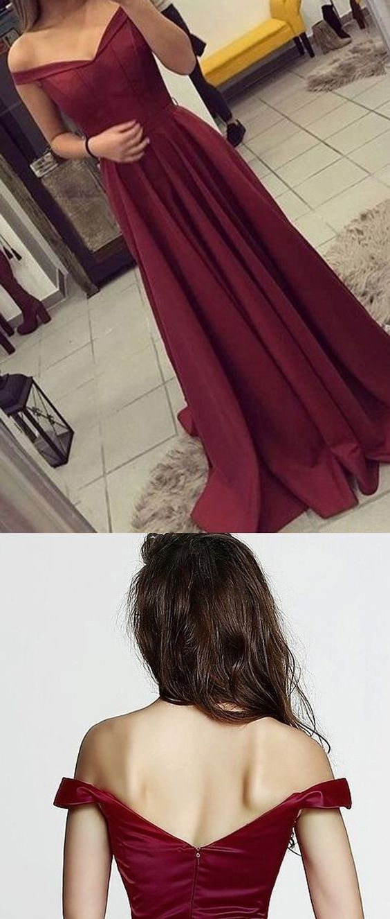 Off The Shoulder Burgundy Prom Dress,Graduation Party Dresses, Formal Dress For Teens