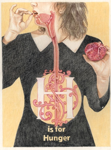 """Jennifer Linton, """"H is for Hunger"""" from the book """"My Alphabet of Anxieties & Desires"""" (pub. 2010), coloured pencil on illustration board."""