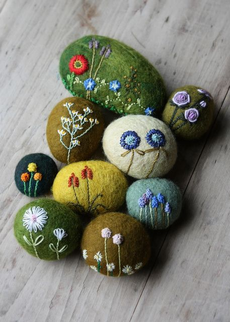 Flowers embroidered on wool covered stones.: Spring Flowers, Spring Continues, Photo Sharing, Art, Embroidered Stone, Rock, Wool Covered Stones, Needle Felting, Flowers Embroidered