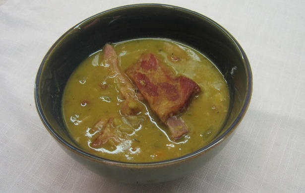 Michael Symon's triple pork split pea soup. I made this last night, but subbed out the hocks with trotters. It was YUM!!!