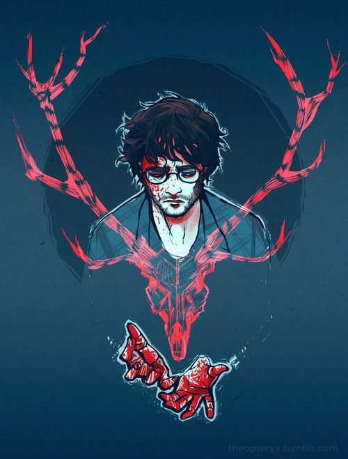 A roughened Harry Potter covered in blood with a bloodied stag's antler in front of him, symbolizing the blood shed during the war and the loss of innocence. His resignation to the loss of innocence and lives in the war is showcased as he looks down defeated. Even though he won by defeating Voldemort, it was with a grave cost.