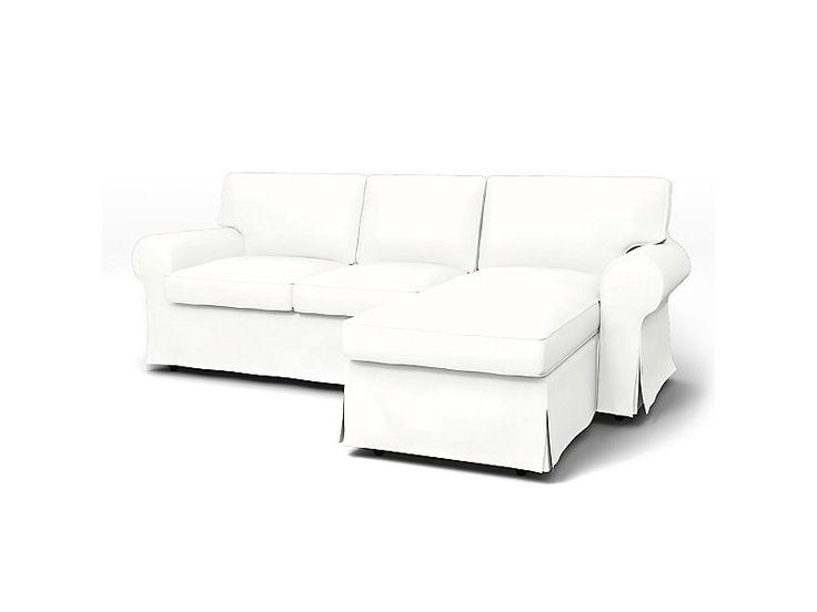 Leather Sofa Ektorp Sofa Covers seater Chaise Longue Regular Fit Panama Cotton Absolute White