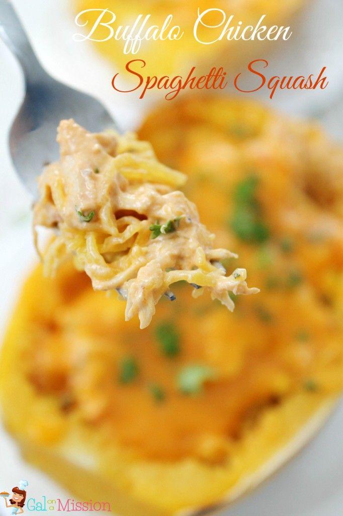 Buffalo Chicken Spaghetti Squash - Gal on a Mission