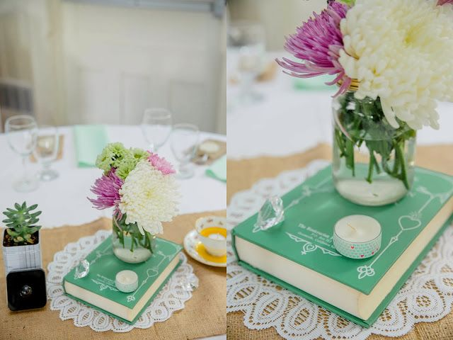 Vintage book, teacup & garden flowers for centrepieces // succulents planted in numbered tins displayed table numbers.