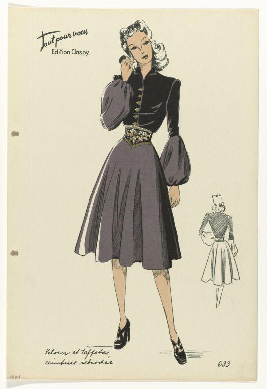 Dress illustration, Edition Claspy, 1943.