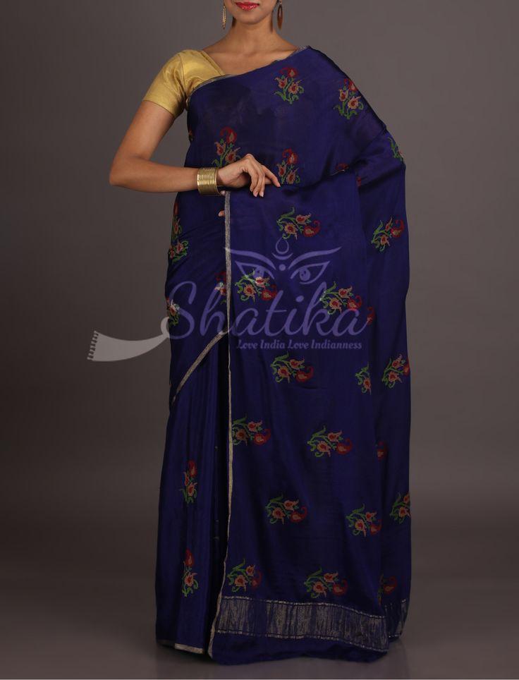 Shanaya Navy Blue With Colorful Peacock Motifs Lace Border Pure Mysore Chiffon Saree