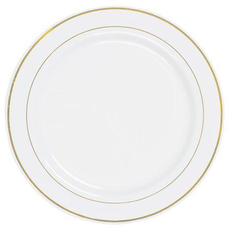 10165 10.25 Inch Elegant Disposable White Plastic Dinner Plates w Shiny Gold Rim - Potential Plate?