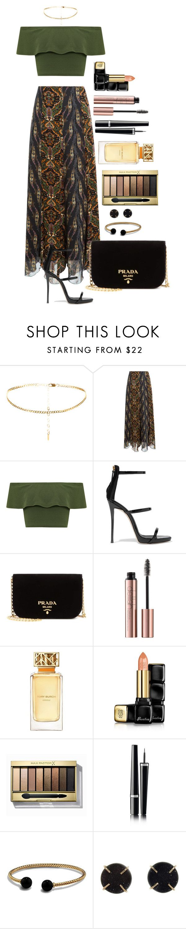 """Untitled #1588"" by fabianarveloc on Polyvore featuring Anna Sui, WearAll, Giuseppe Zanotti, Prada, Tory Burch, Guerlain, Max Factor, Chanel, David Yurman and Melissa Joy Manning"