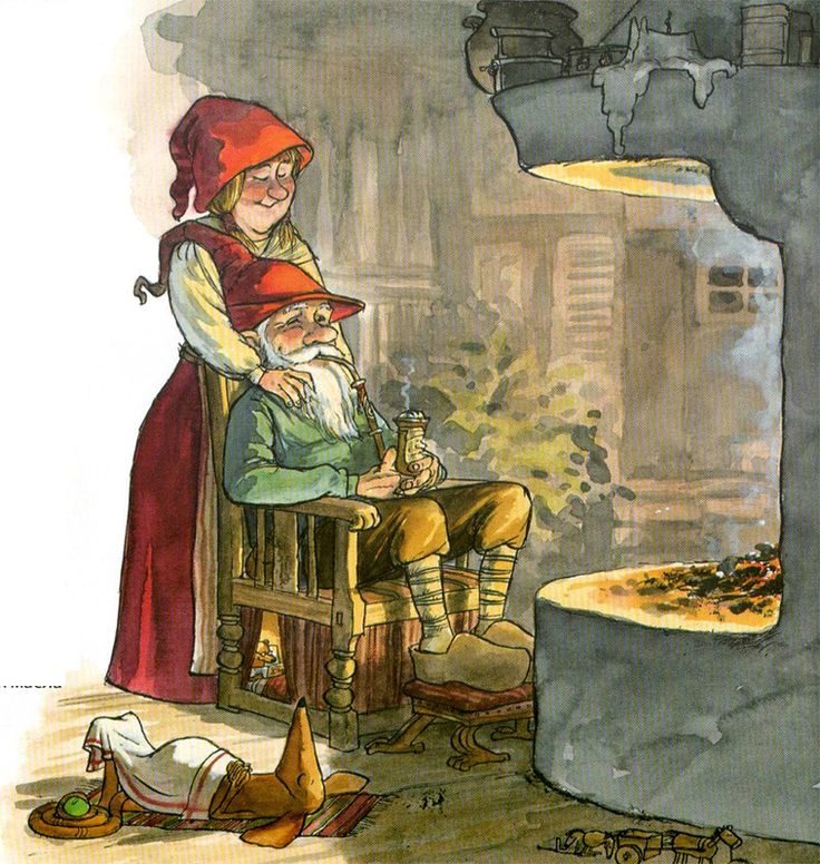 Sven Nordqvist. The peaceful end of the day by the fire with friends and family. Gnome sweet home.