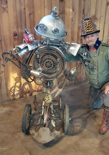 """My latest automatica to assist in the grooming of the modern gentleman. """"Shave and a haircut"""" fusion sculpture created with the disciplines of welding, assemblage, patina and woodwork."""