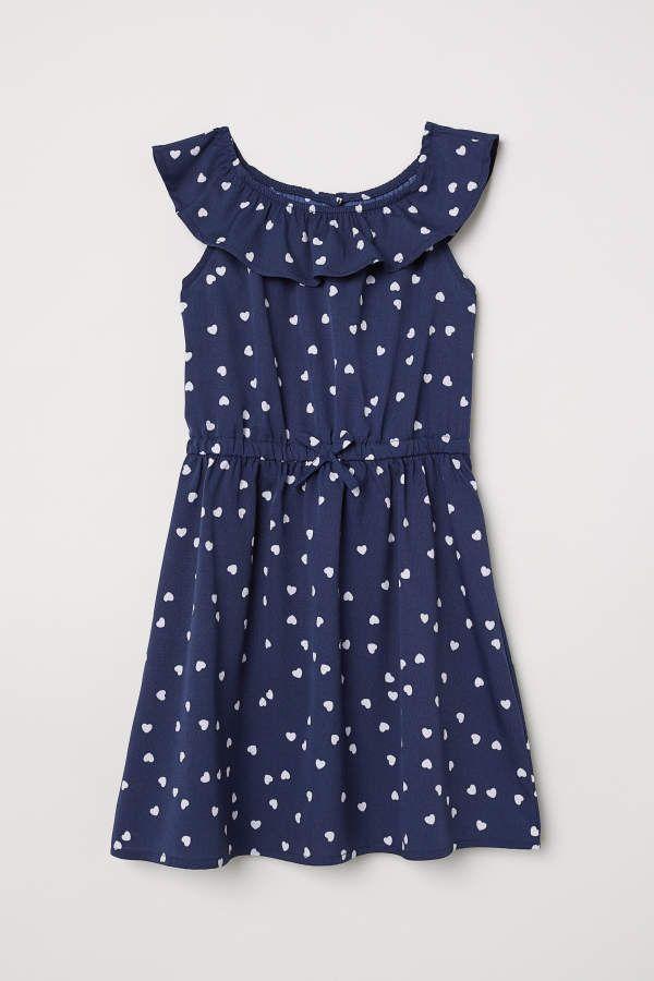22140ab16c77 H & M - Patterned Dress - Dark blue/hearts - Kids #printed#fabric#pattern