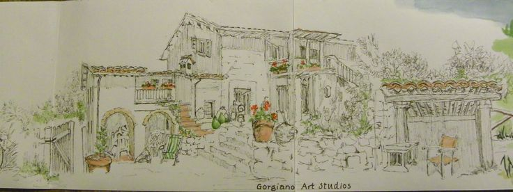 Louise's journal drawing of Gorgiano Studios