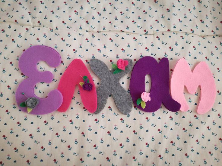 Nome feltro ghirlanda topolino rose idea regalo fioco nascita Kids room neonato baby di FattoDaDesy su Etsy