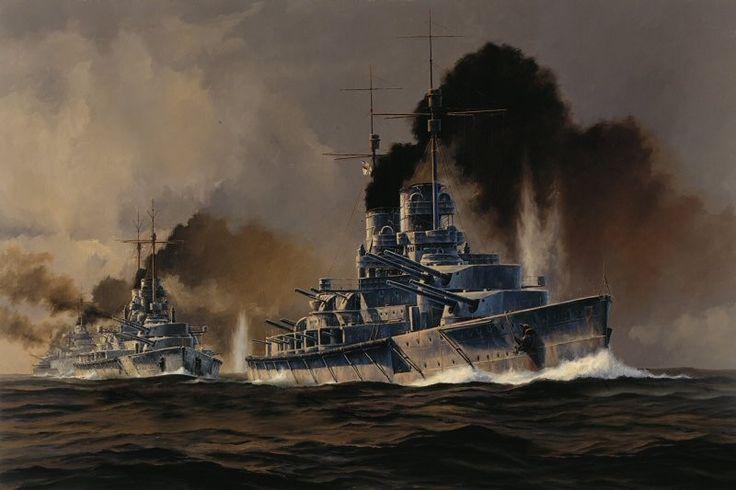 """El SMS Lutzow abre la línea de batalla del Primer Grupo de Reconocimiento, formado por los cruceros de batalla germanos, durante la """"Carrera hacia el Sur"""", primera fase de la batalla de Jutlandia. Lámina cortesía de Anthony Saunders. http://www.elgrancapitan.org/foro/viewtopic.php?f=97&p=891229#p891042"""