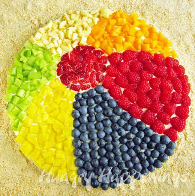 Photo.summertreats.Beach Ball Fruit Pizza recipe, summer themed food, pool party dessert, beach themed sweet treats, beach recipes 2