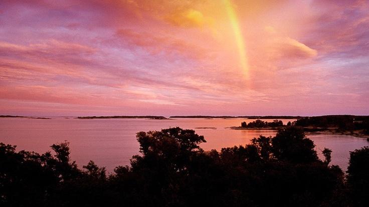 Rainbow over archipelago of Stockholm Sweden