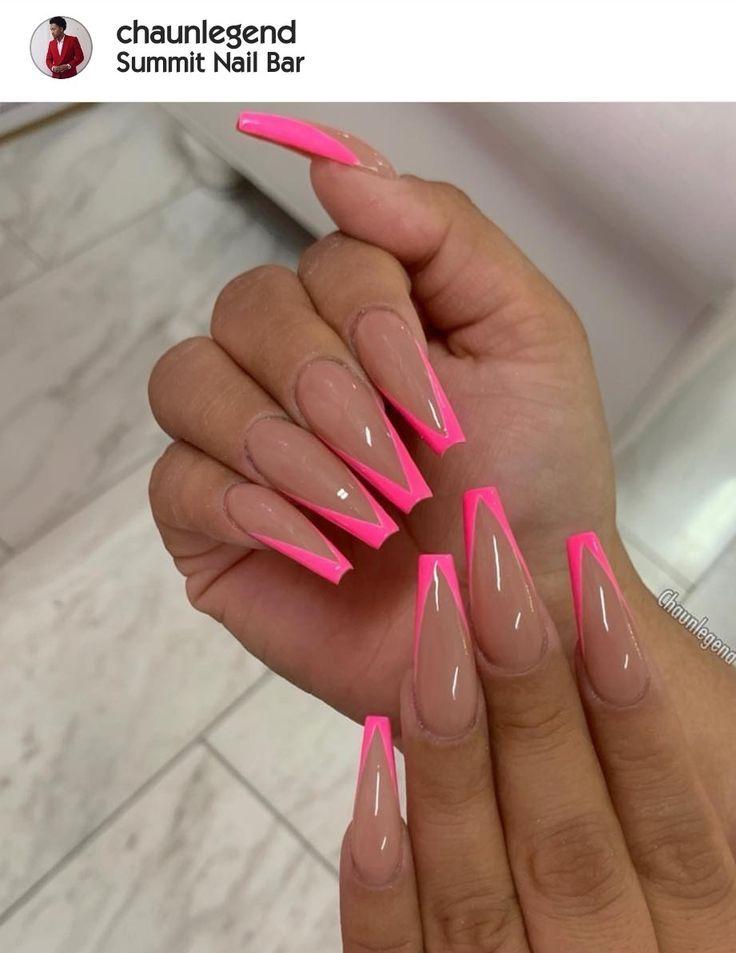 Hot Pink Nails Nails In 2020 Beige Nails Pink Acrylic Nails Long Acrylic Nails