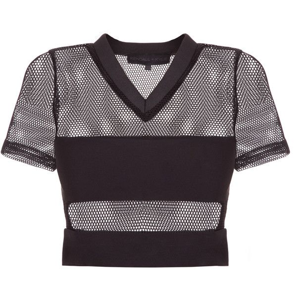 Kendall Kylie Mesh S/S Top ($200) ❤ liked on Polyvore featuring tops, mesh top, v-neck jersey, purple jersey, purple bandeau top and jersey crop top
