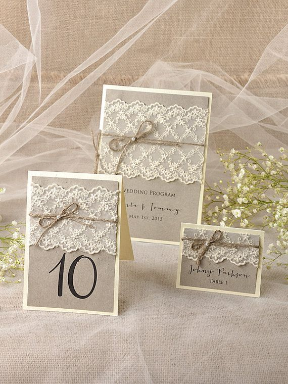 Lace Table Numbers, Escort Cards & Programs