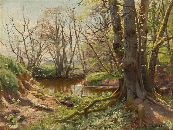 Artwork by Peder Mork Monsted, Riverscape in Springtime, Made of Oil on cradled panel