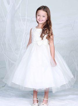 Vestido de primeira comunhão Princesa Pescoço Jóia Tule com Arco