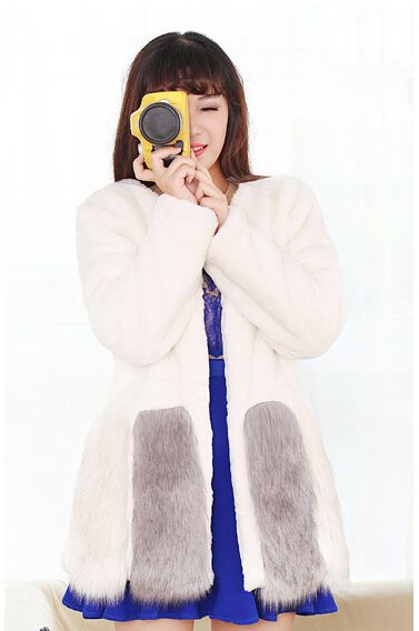 Warm Winter Thick Fur+Thick lining Women Faux Fur Coat Medium-long Hooded Rabbit Fur Coats Plus Size S-3XL White, Black