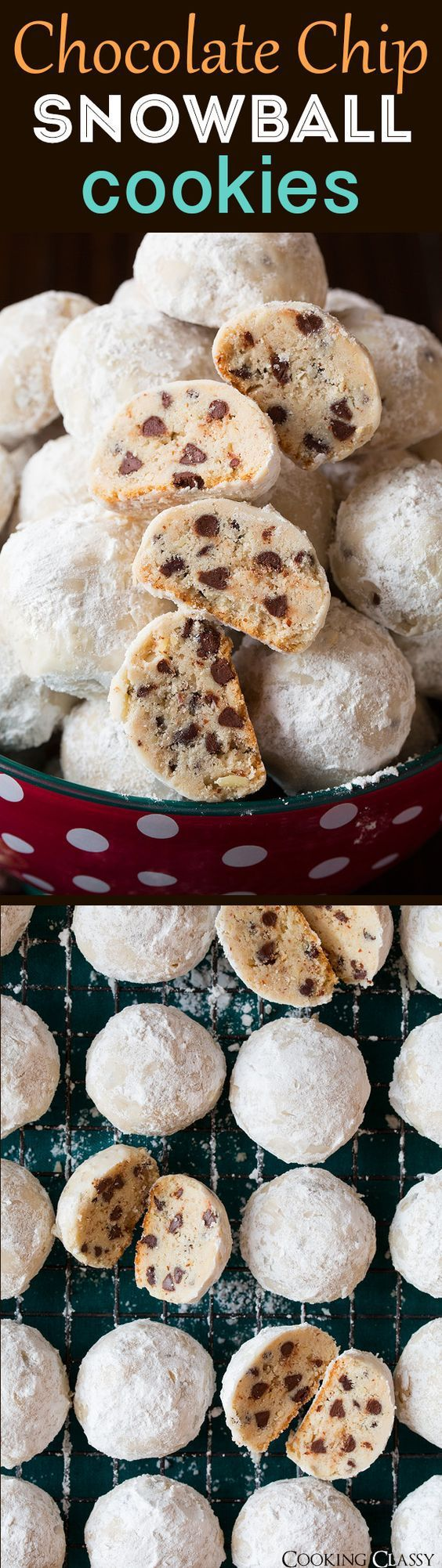 Chocolate Chip Snowball Cookies - 100% irresistible! Get the RECIPE via Cooking Classy