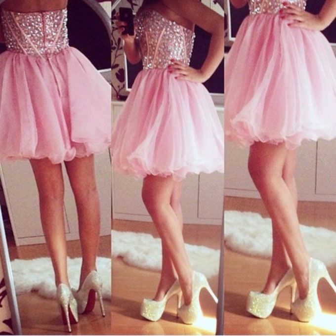 Sweetheart A Line Prom Dresses,Short Pink Prom Dresses,Beading Prom Dresses,Strapless Prom Dresses,Pretty Prom Dresses