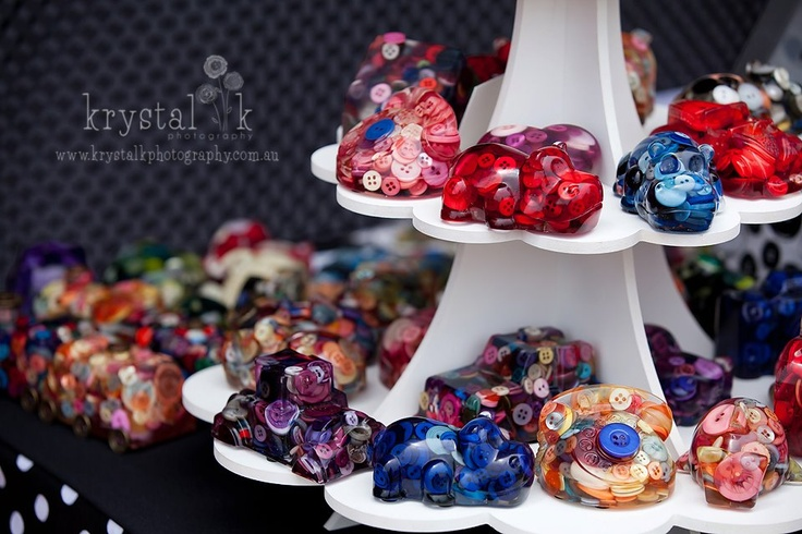 Button Filled Resin Ornaments and Paperweights    Photography by   http://www.facebook.com/krystalkphoto
