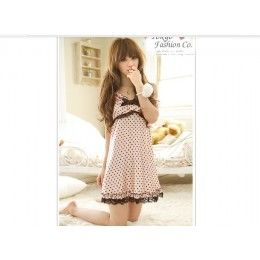 Polkadot patterned cute pink nightie with lace edging and bow.