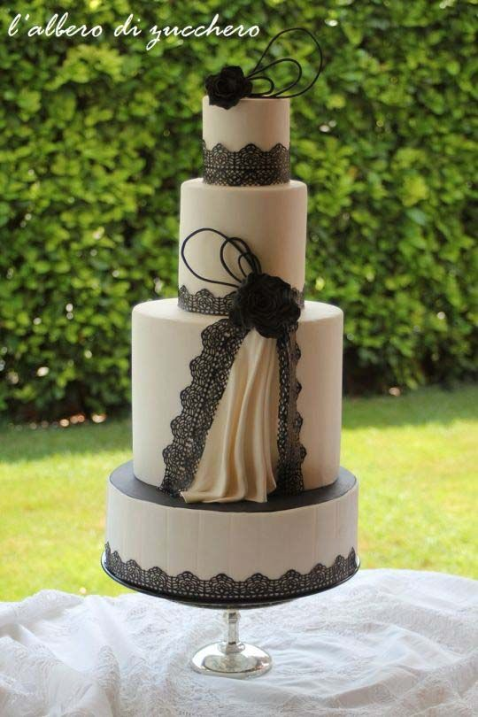 beautiful black and white wedding cake pictures beautiful cake pictures tiers of black lace amp draping 11205