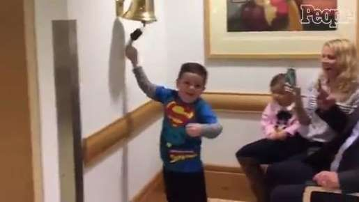 A very excited Jimmy Spagnolo, decked out in a Superman shirt, finally reached the end of his year-long chemotherapy treatment plan
