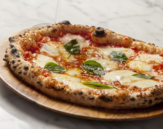 A wood-fired pizza from Burrata at the Old Biscuit Mill in Woodstock, South Africa