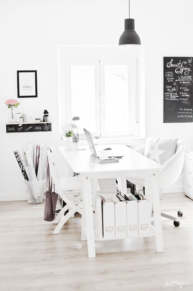 Littlefew Blog: HARD WORKING. chair, Ikea trestle table with white board top, white Ikea magazine holders.