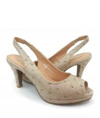 Sand - Womens ostrich beige slingback peeptoe mid heels $99.00 #shoeenvy #shoes #fashion #instalove #pretty #ethical #glamorous