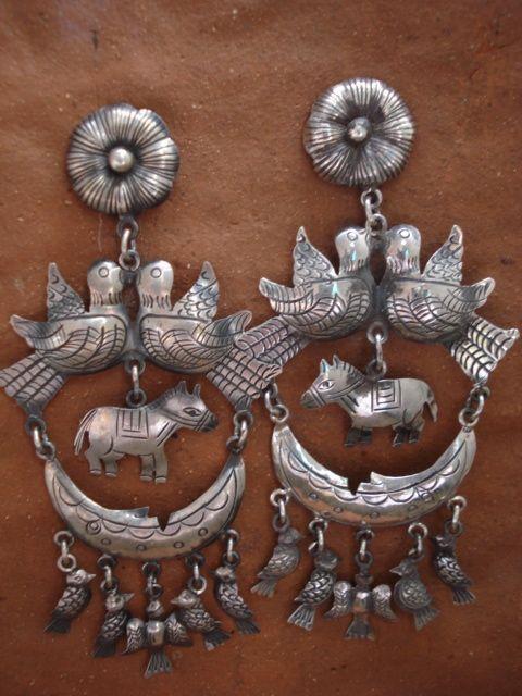 federico jimenez jewelry images | Beautiful Traditional Sterling Silver Earrings From Oaxaca