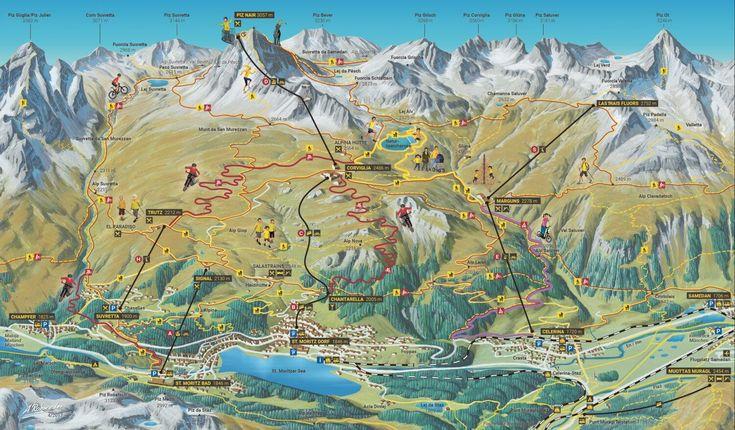 Summertime In St Moritz Switzerland Panoramic Map Hiking