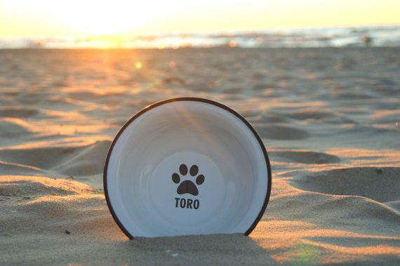 Dog Bowl with NAME ENGRAVED Pet Bowl Dog bowl pottery Metal