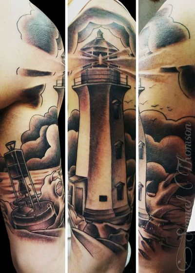 Done by Sam Thomson of Blackwood Tattoo in Keswick, Ontario.  http://www.blackwoodtattoo.com/Blackwood Tattoo, Fyeahtattoo Com, Awesome Lighthouses, Sweets Tattoo, Http Www Blackwoodtattoo Com