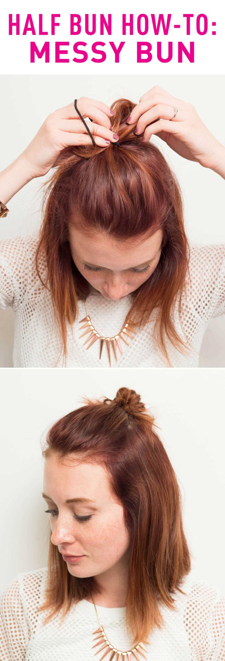 MESSY HALF BUN HOW-TO: Replicate this ~sexy~ and slightly undone half bun hairstyle by pulling some hair up into a ponytail, looping it through the elastic band once fully. Then as you pull it through the second time, only do it halfway to create a messy loop. Pull the loop and adjust it to the shape and messiness you want. Click through for the full instructions and details!