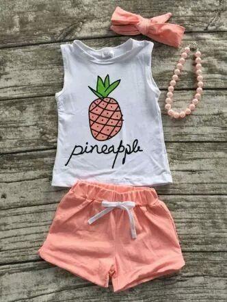 Coral Pineapple Shorts Set