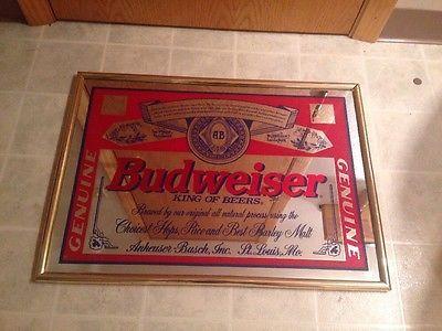 L K Budweiser King Of Beers Beer Mirror Sign Garage Man