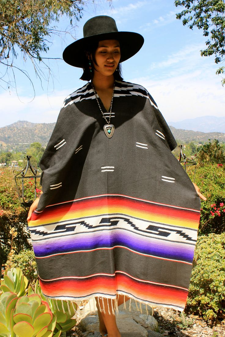 Vintage Serape Mexican Blanket Poncho | Mexican blankets ...