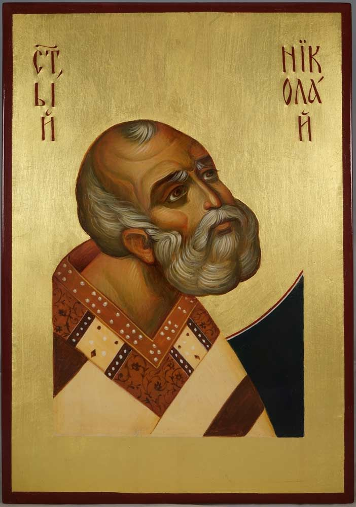 Saint Nicholas Nikolaus Hand-Painted Byzantine Icon                                                                                                                                                                                 Más
