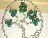 Malachite Gemstone Tree of Life Wire Wrap Necklace UK Handmade Silver Plate Copper Wire
