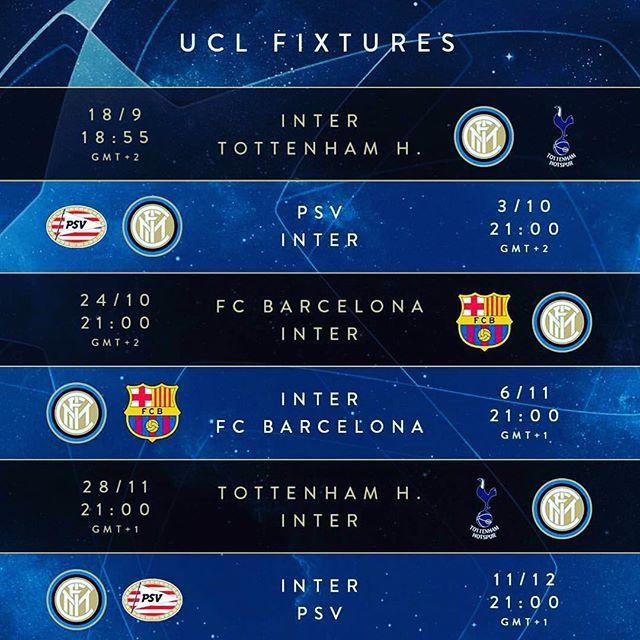 Inter Milan Calendrier.Le Calendrier Des Matchs De Ligue Des Champions Inter Fcim