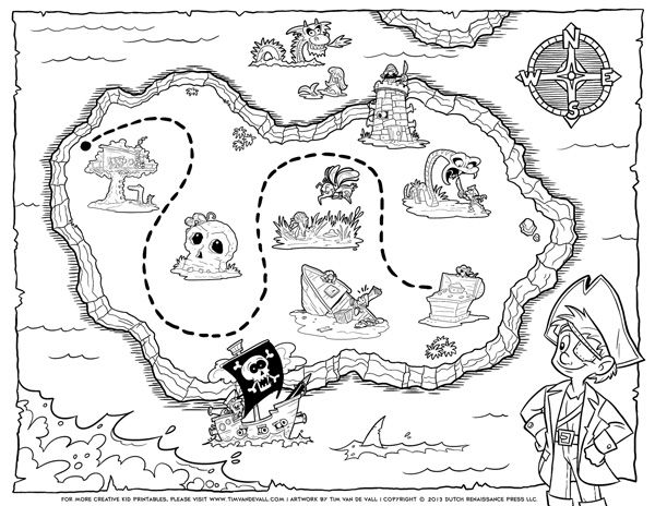treasure map coloring pages # 0