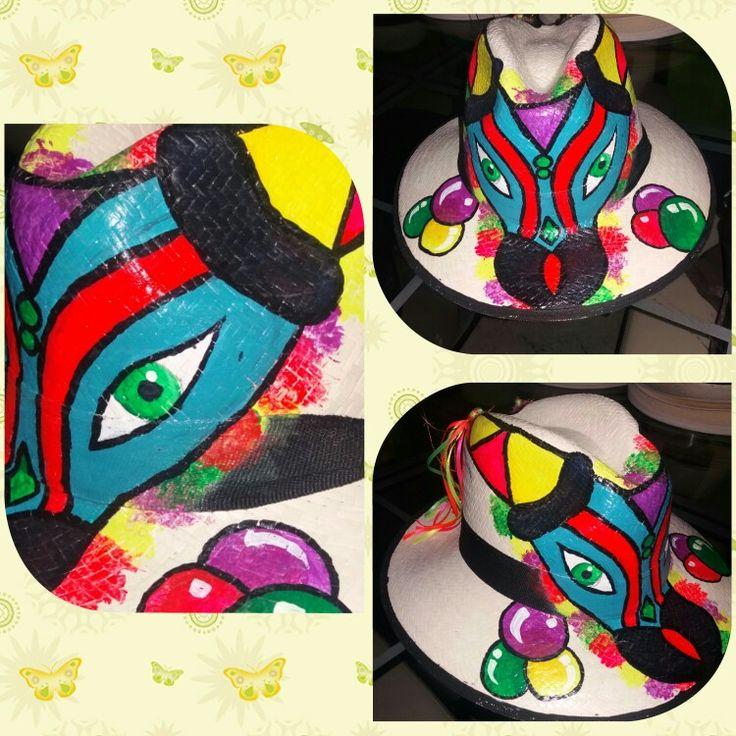 Sombrero pintado a mano Torito del carnaval de Barranquilla