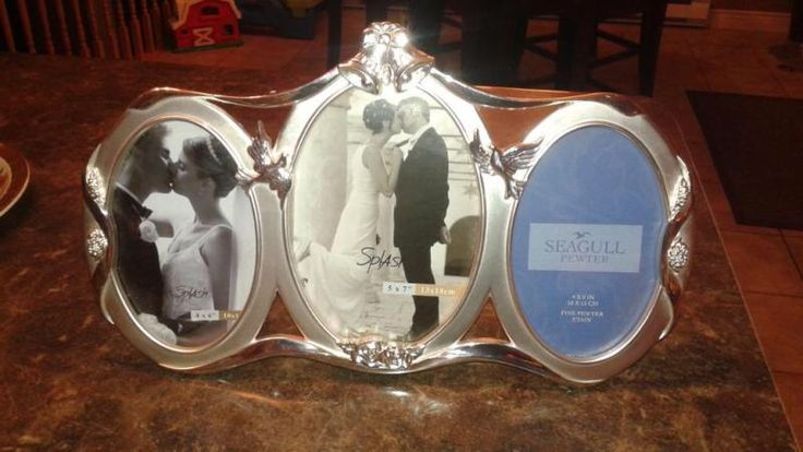 Seagull Pewter Triple Picture Frame.
